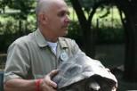 Zoo staff displays a turtle to kids